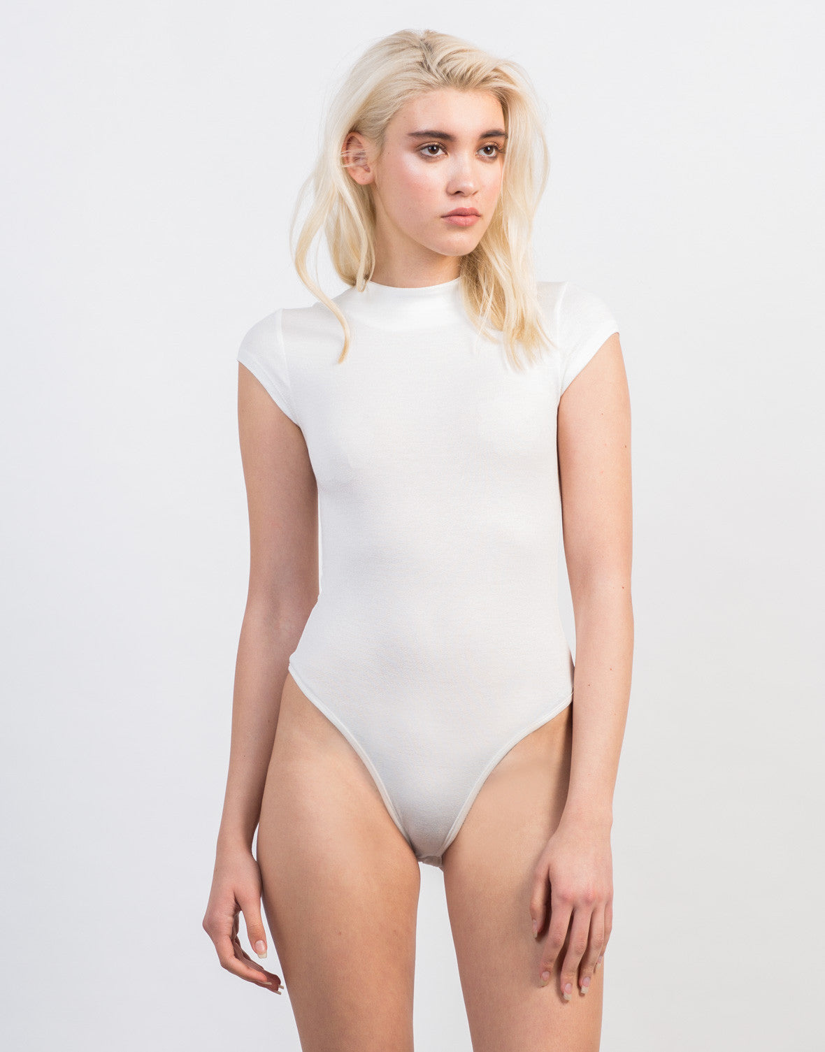 Front View of Simple Mock Neck Bodysuit