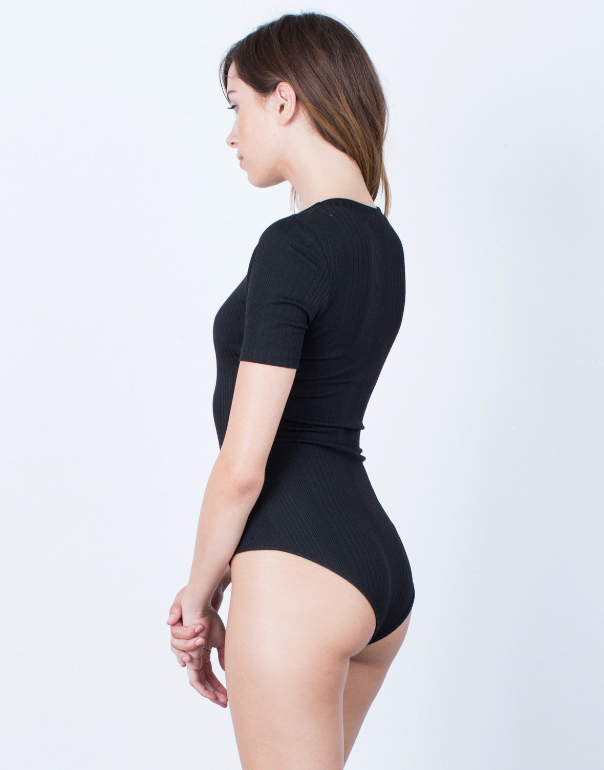 Side View of Simple Rib Knit Bodysuit