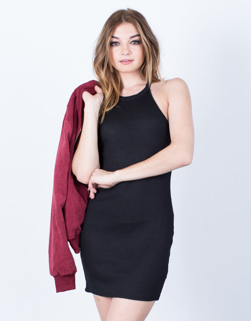 Front View of Simple Rib Knit Dress