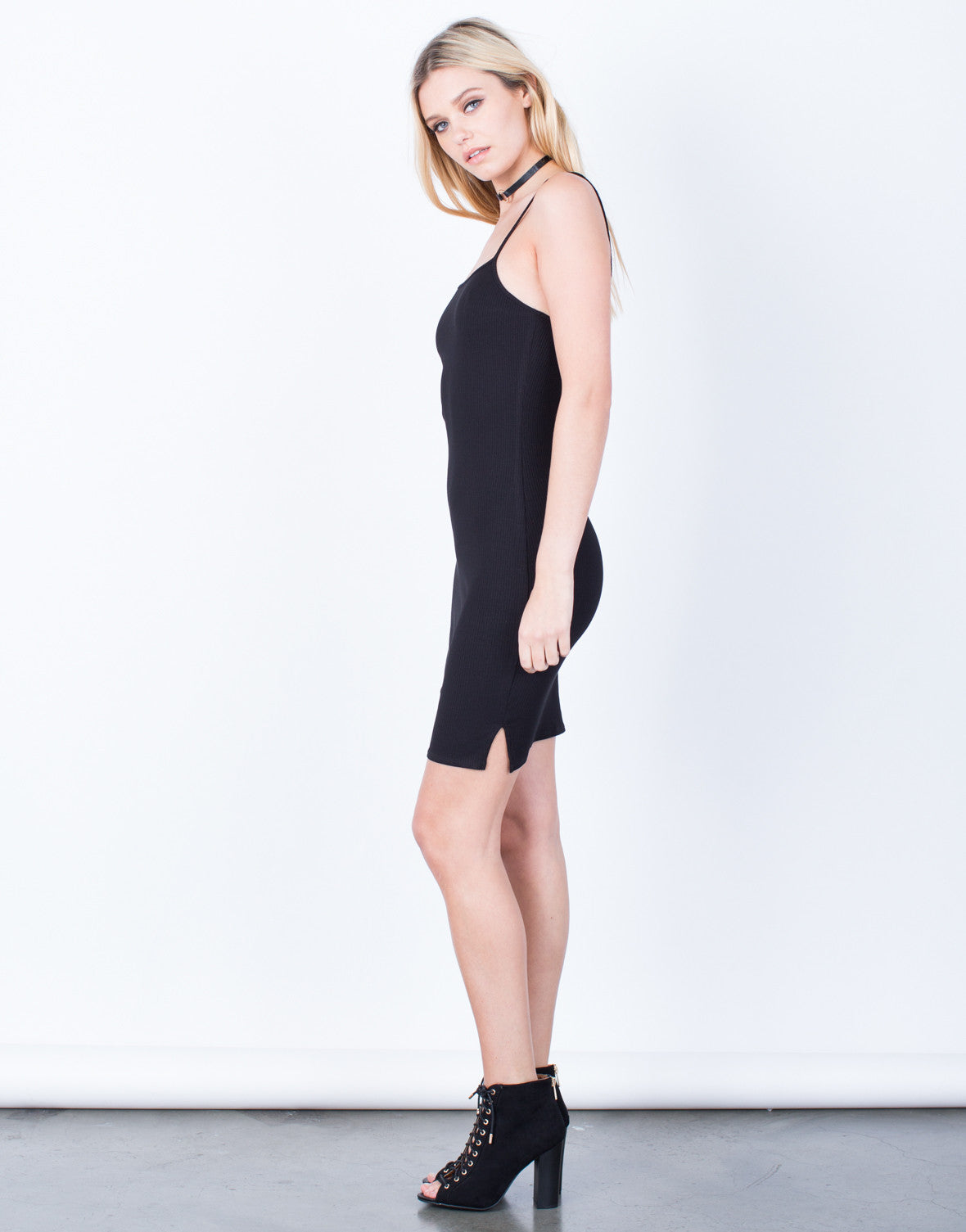 Side View of Simple Ribbed Dress