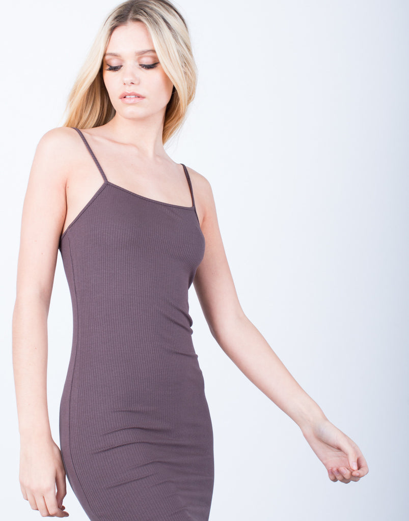 Detail of Simple Ribbed Dress