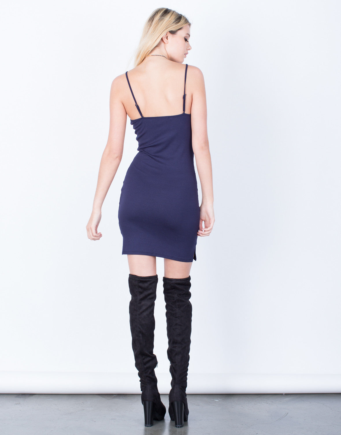 Back View of Simple Ribbed Dress
