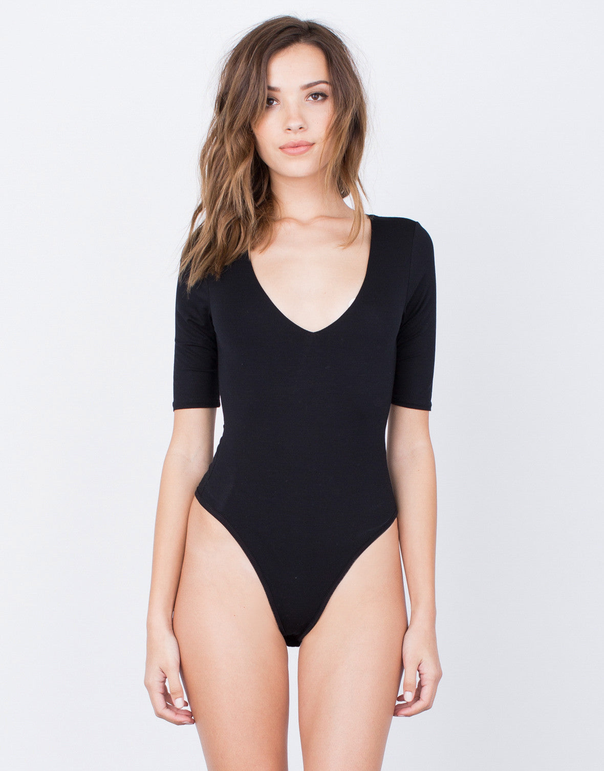 Front View of Simple V-Neck Bodysuit