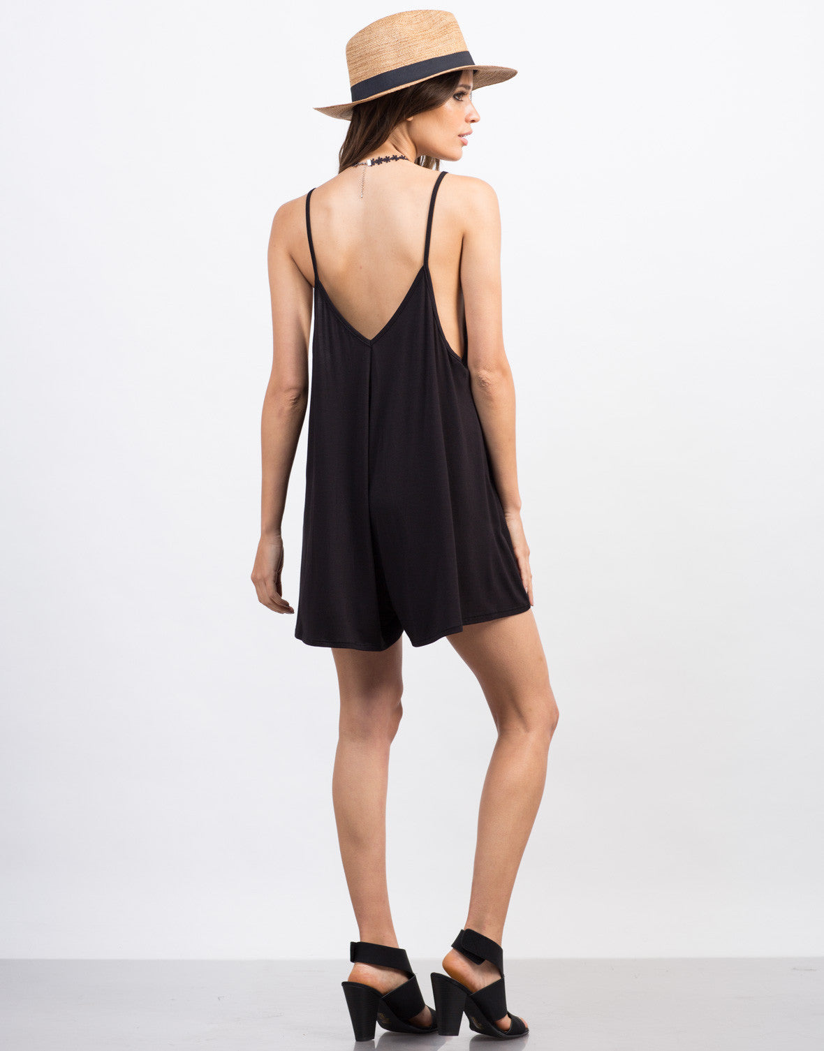 Back View of Simple V-Neck Romper