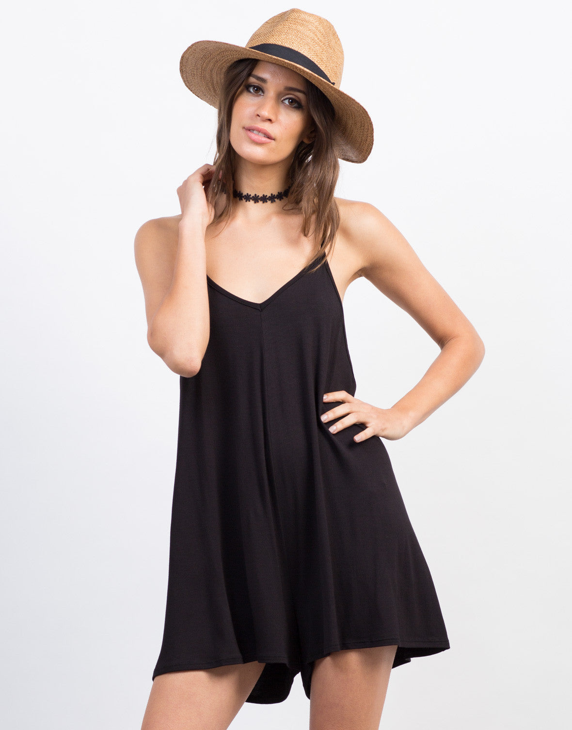 Front View of Simple V-Neck Romper
