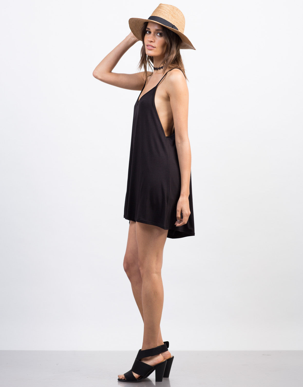 Side View of Simple V-Neck Romper