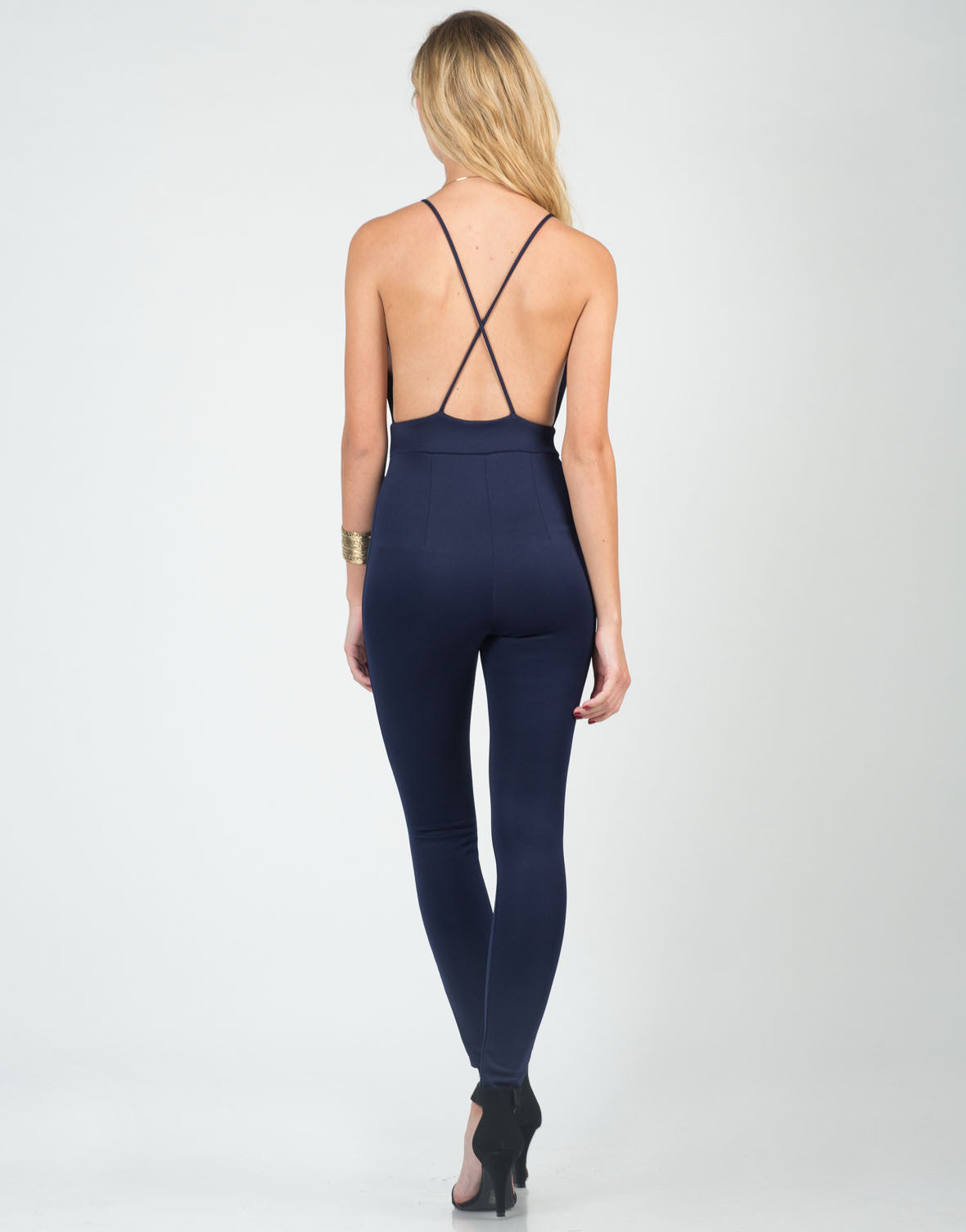 Back View of Simple Cross Back Jumpsuit