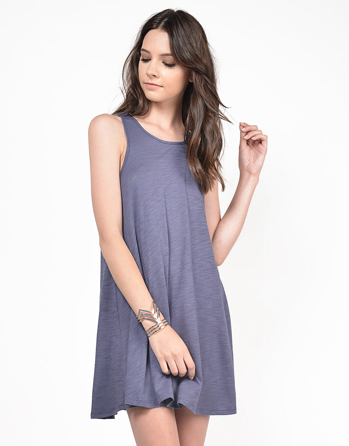 Front View of Simple Lightweight Sleeveless Dress