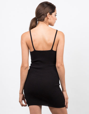 Back View of Simple Ribbed Bodycon Dress