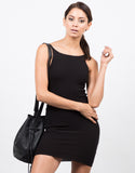 Front View of Simple Ribbed Bodycon Dress