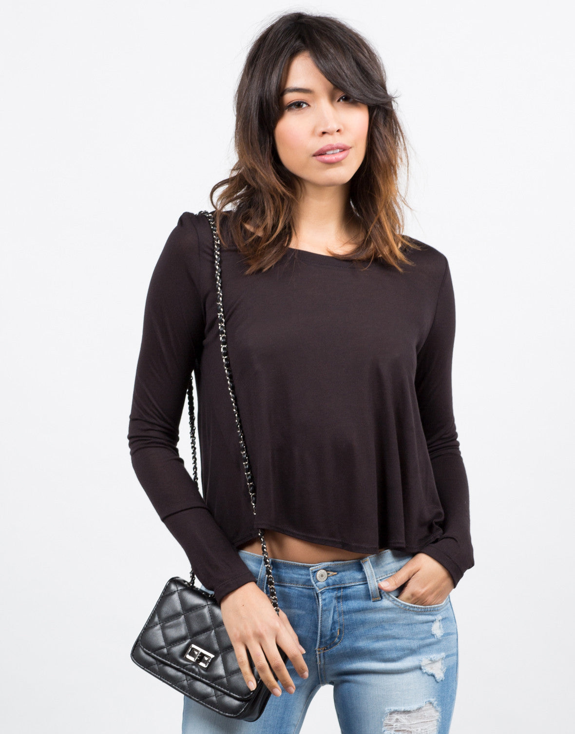 Front View of Simple Semi Sheer Lightweight Long Sleeve Top