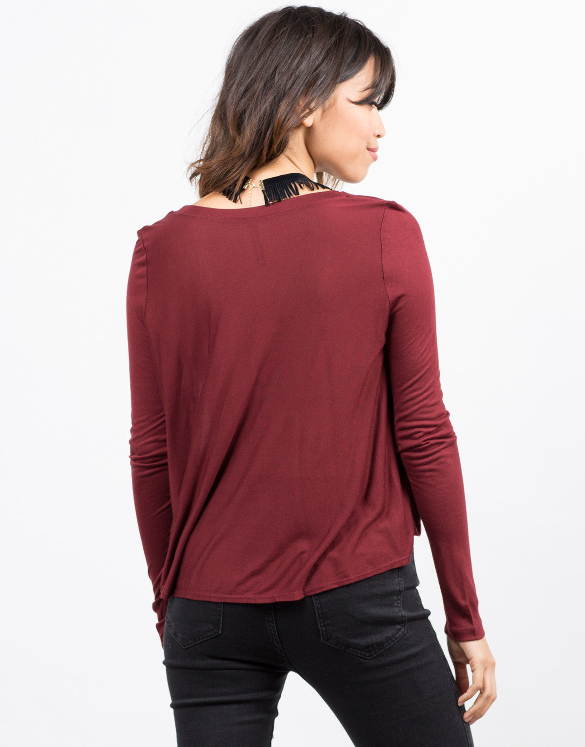 Back View of Simple Semi Sheer Lightweight Long Sleeve Top