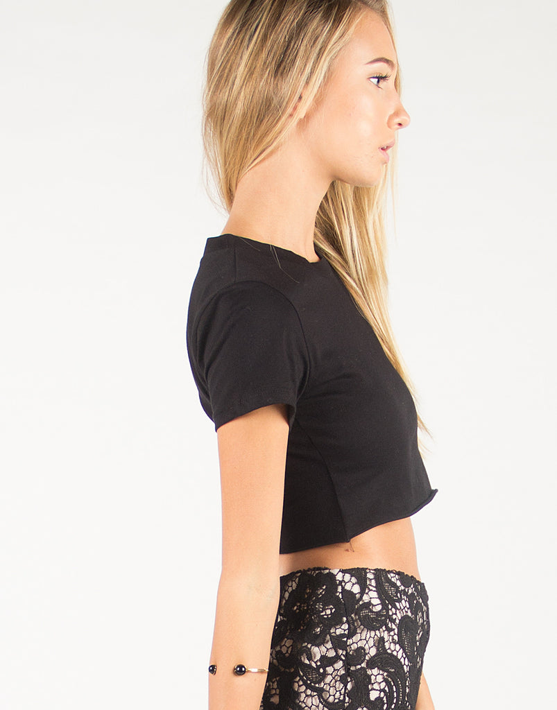 Simple Short Sleeve Crop Tee - Black - 2020AVE