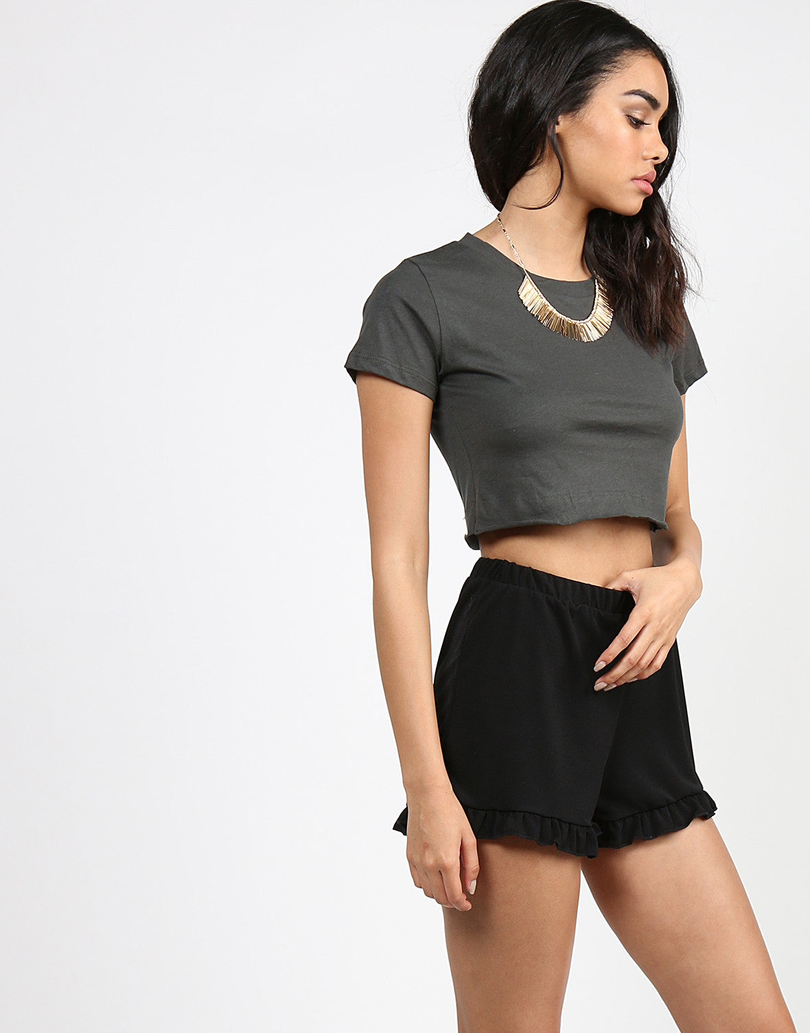 Simple Short Sleeve Crop Tee - Olive