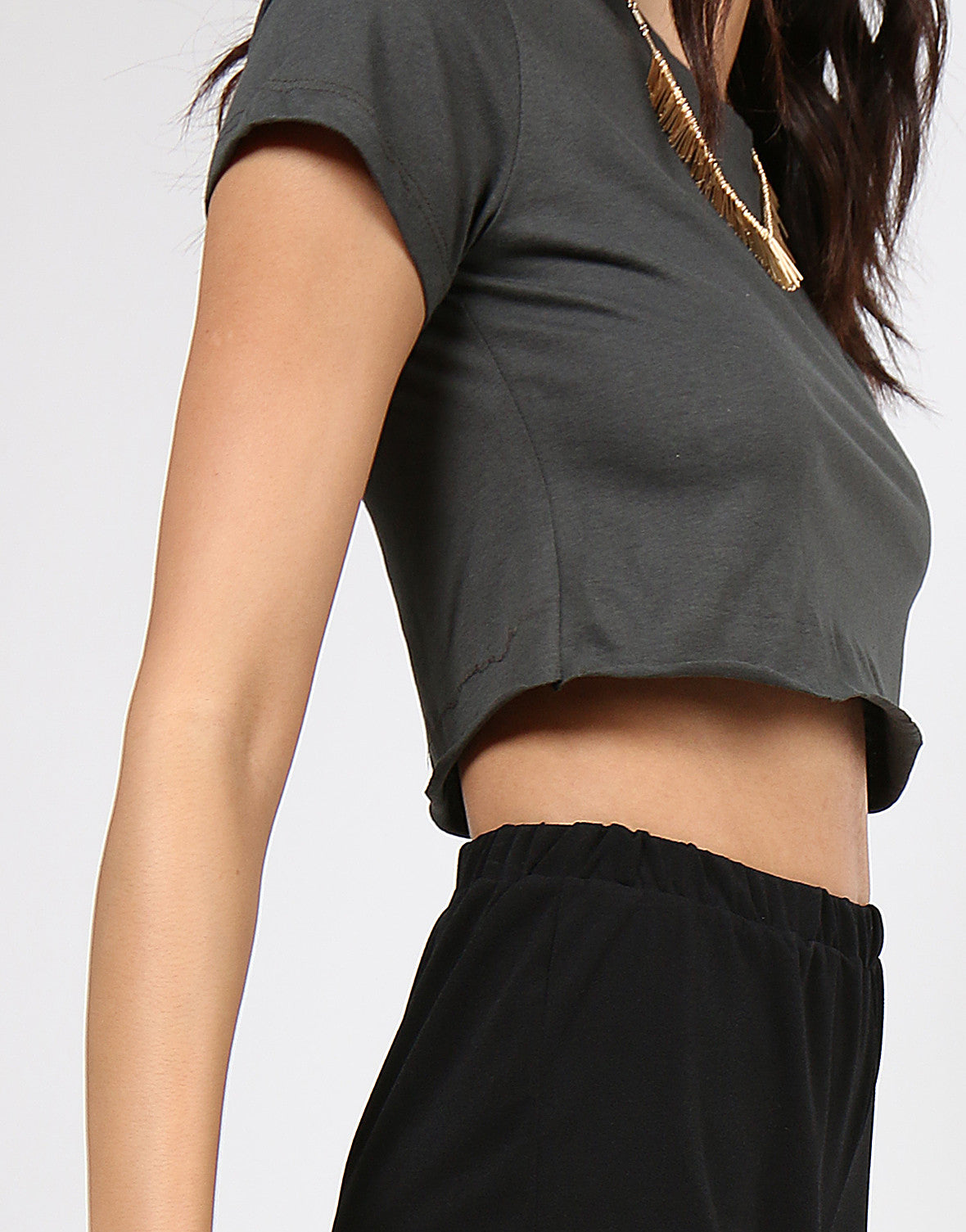 Simple Short Sleeve Crop Tee - Olive - 2020AVE