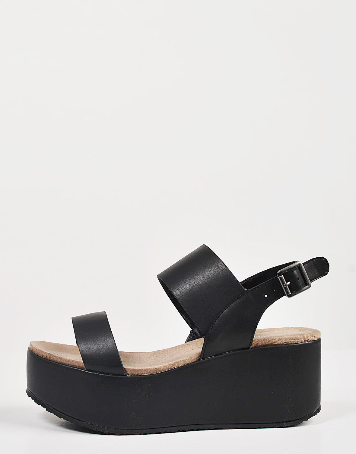 Side View of Simple Slingback Flatform Sandals