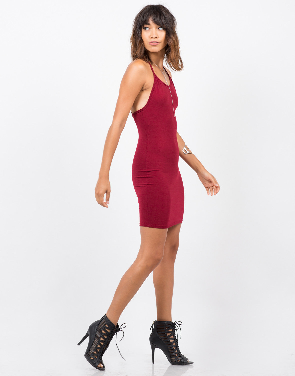 Side View of Simple Strappy Dress
