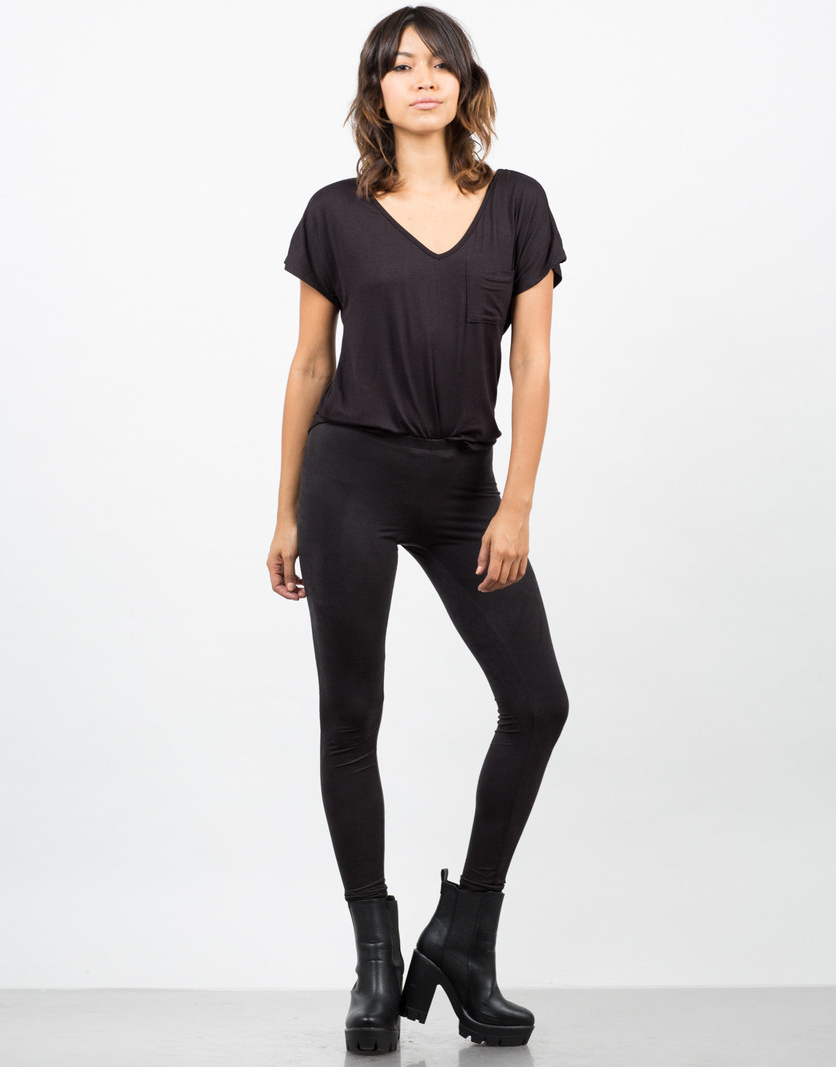 Front View of Simple Suede Leggings