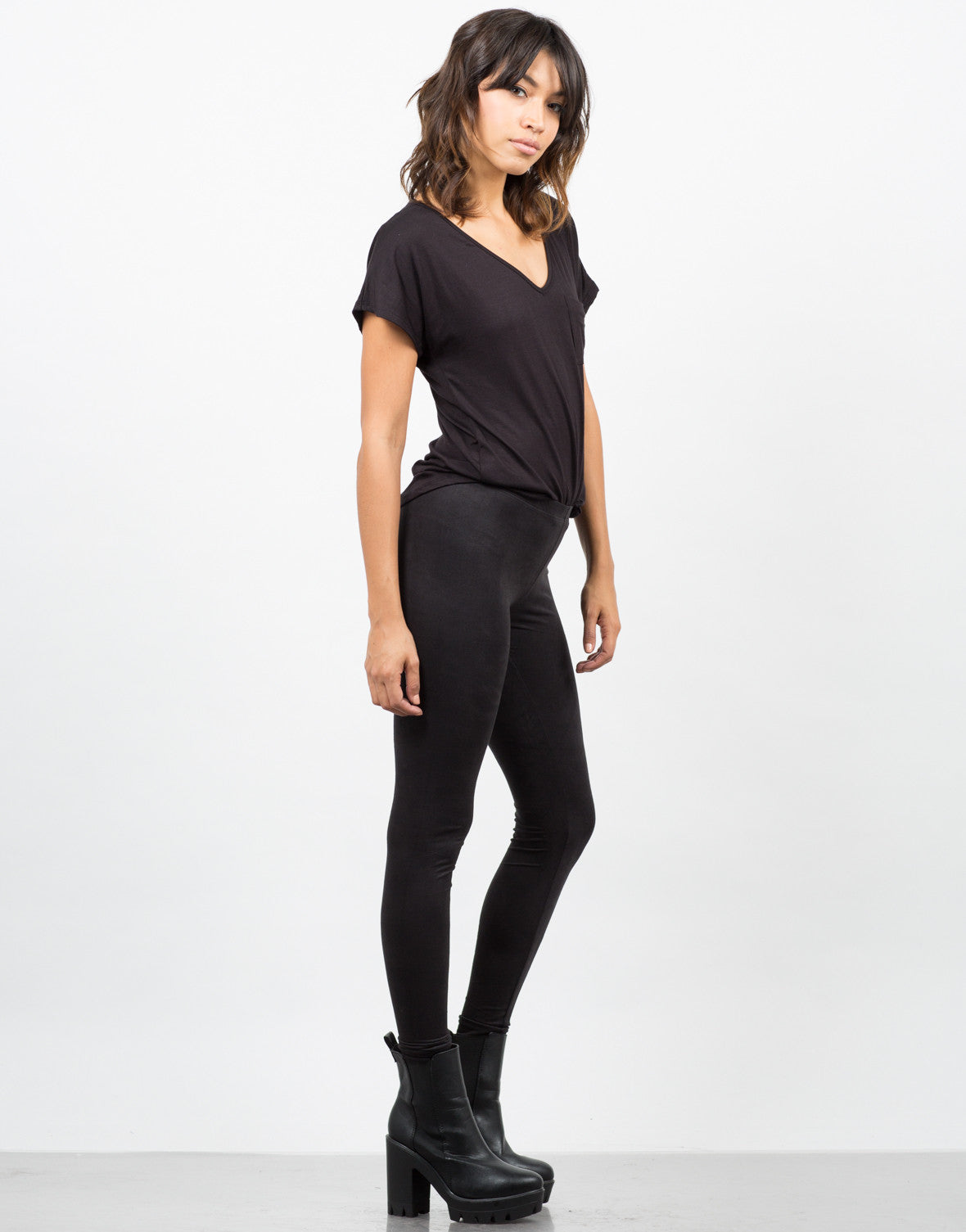 Side View of Simple Suede Leggings