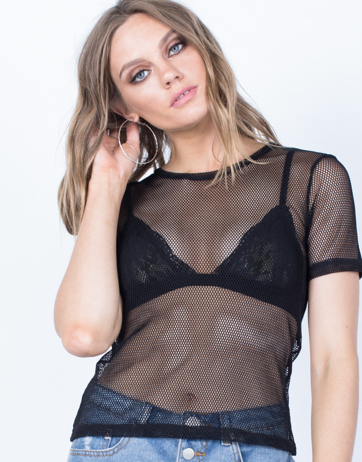 f79211853d6e12 Simply Netted T-Shirt - Black Mesh Netted Tee - Black Sheer Mesh Top ...