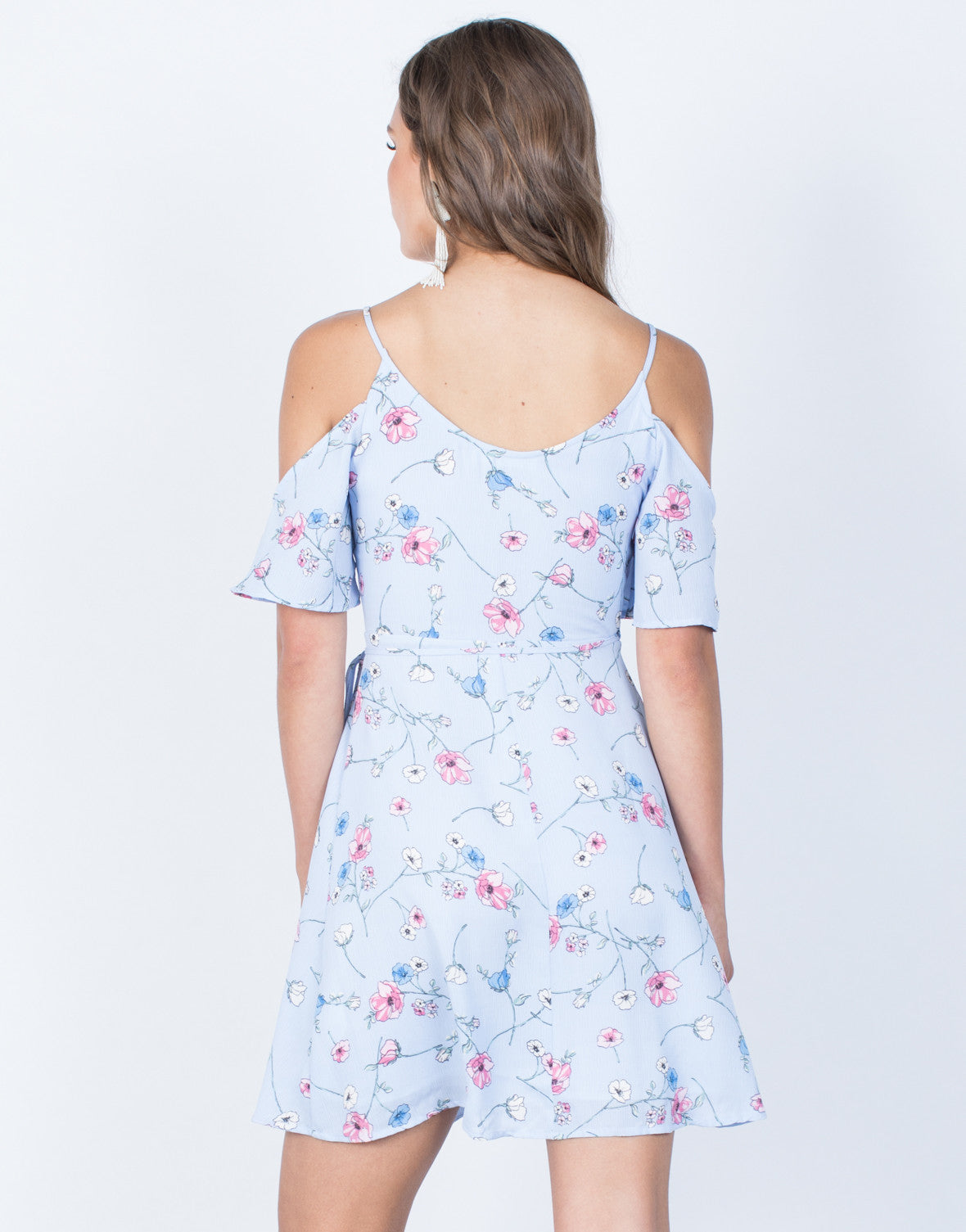 Back View of Sketched in Floral Dress
