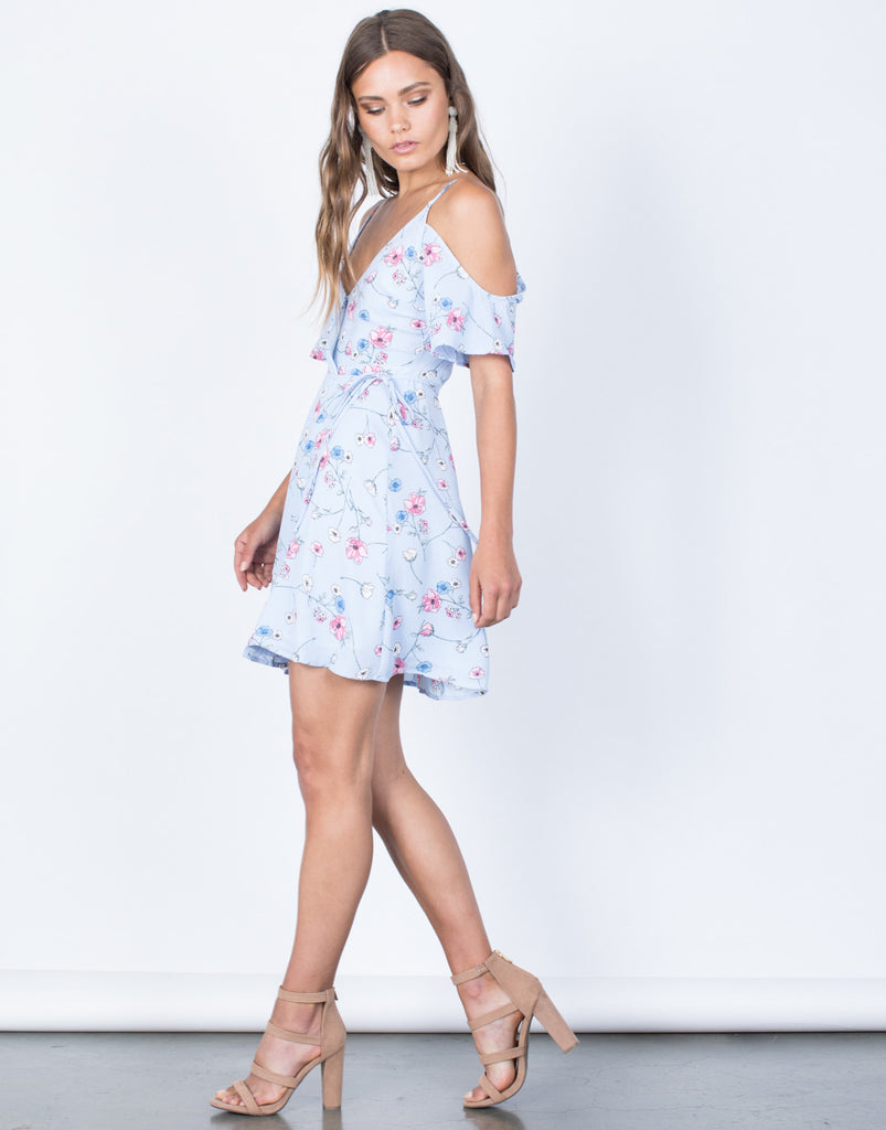 Side View of Sketched in Floral Dress