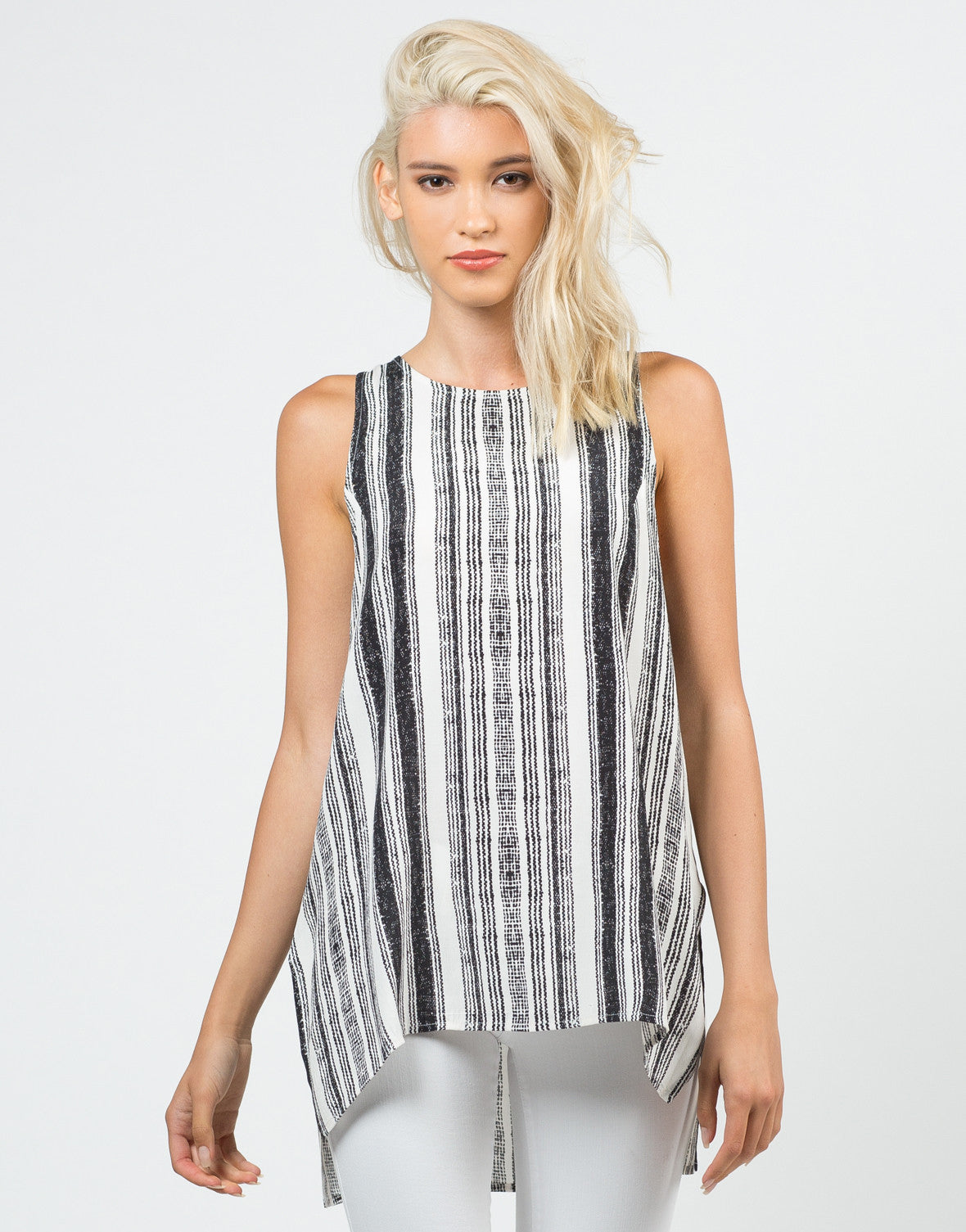 Front View of Skid Printed Sleeveless Top