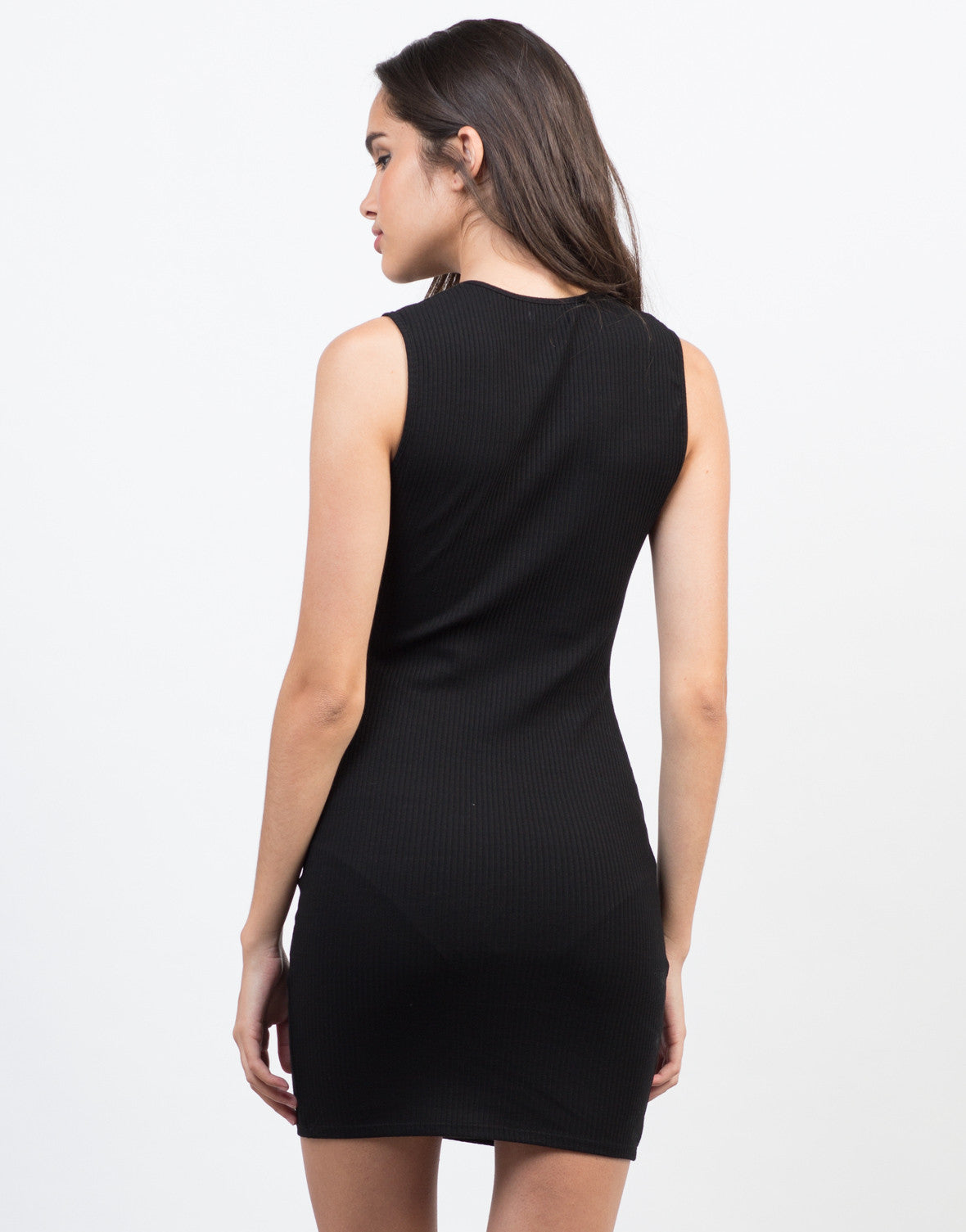Back View of Skinny Ribbed Bodycon Dress