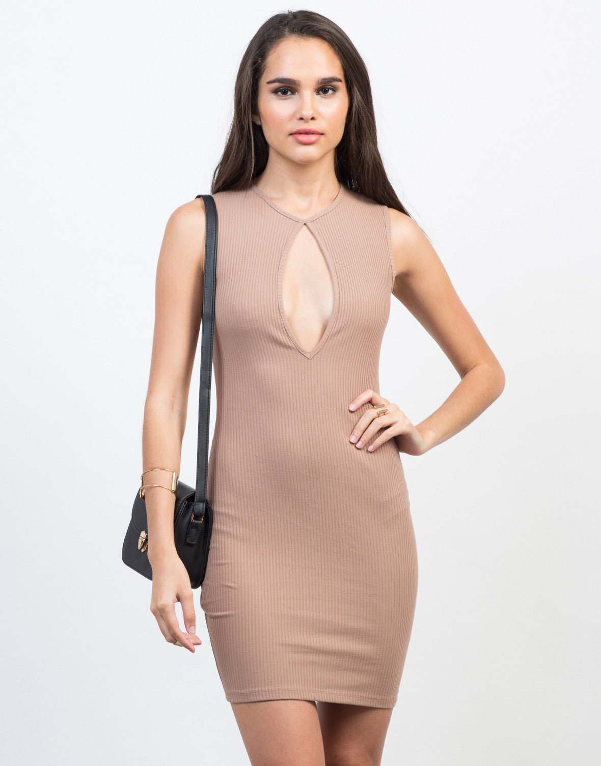 Front View of Skinny Ribbed Bodycon Dress