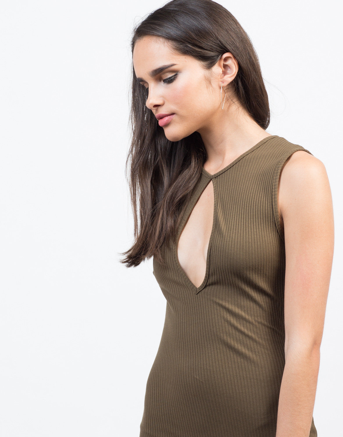Detail of Skinny Ribbed Bodycon Dress