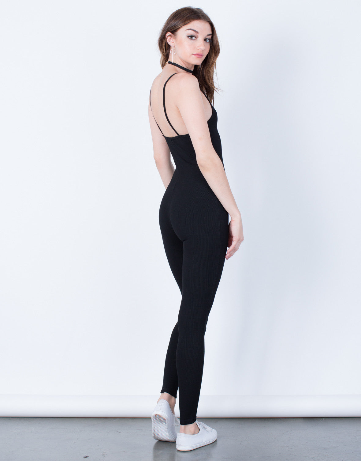 Back View of  Skinny Ribbed Jumpsuit