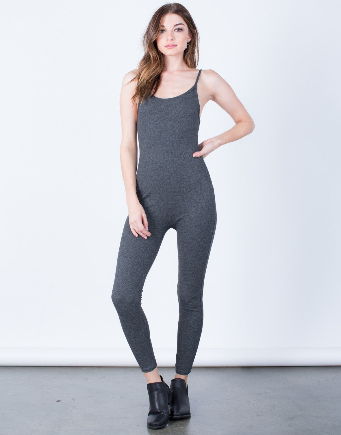Front View of  Skinny Ribbed Jumpsuit