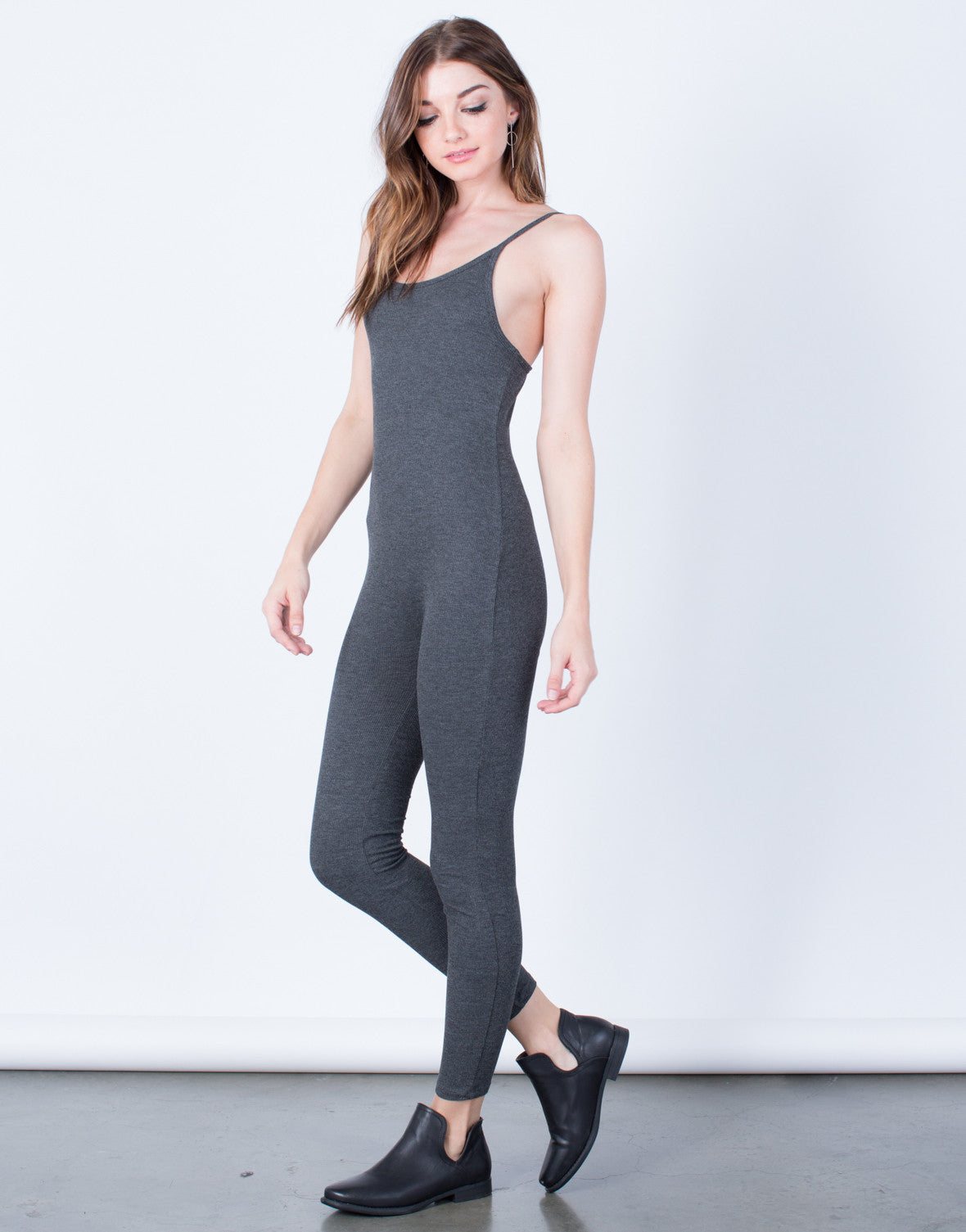 Side View of  Skinny Ribbed Jumpsuit
