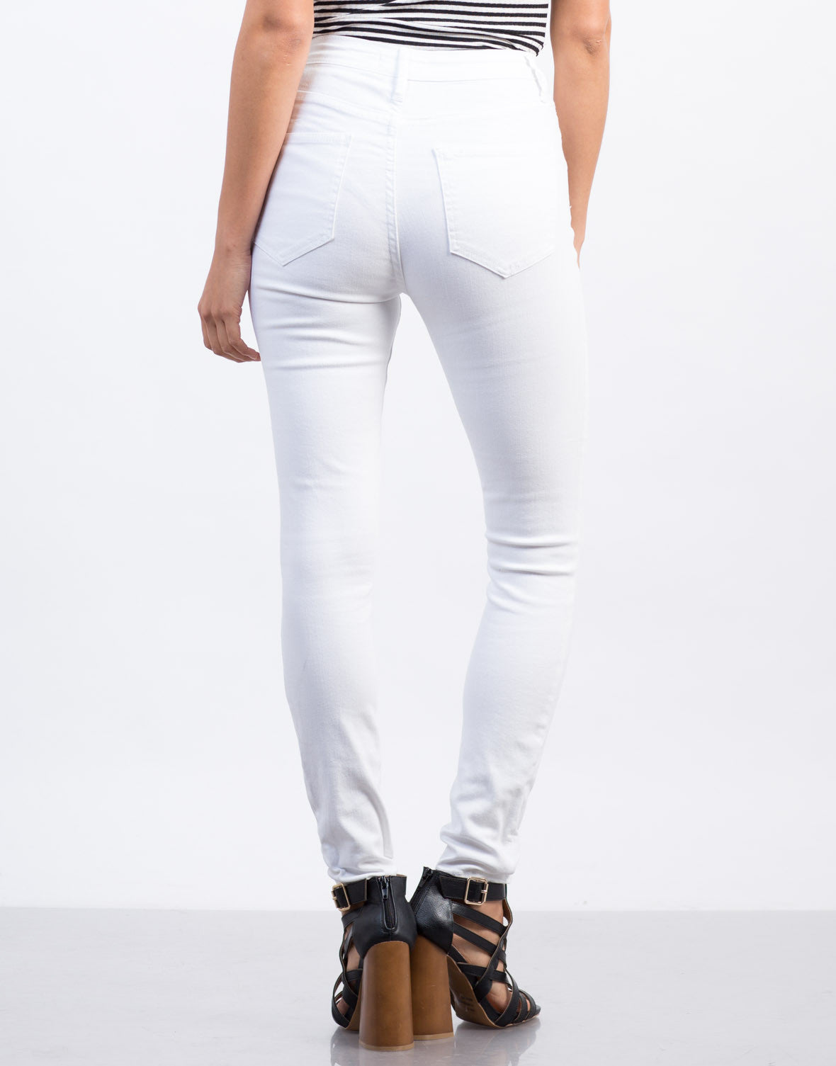 Back View of Skinny Sailor Jeans