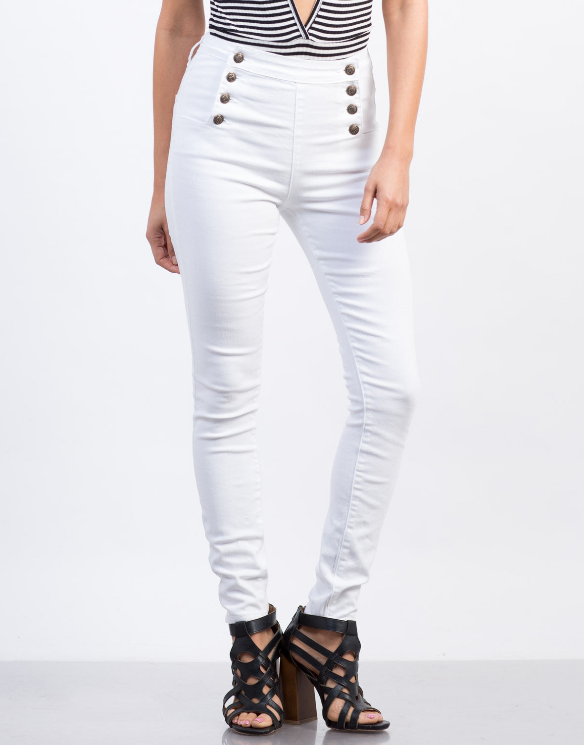 Front View of Skinny Sailor Jeans