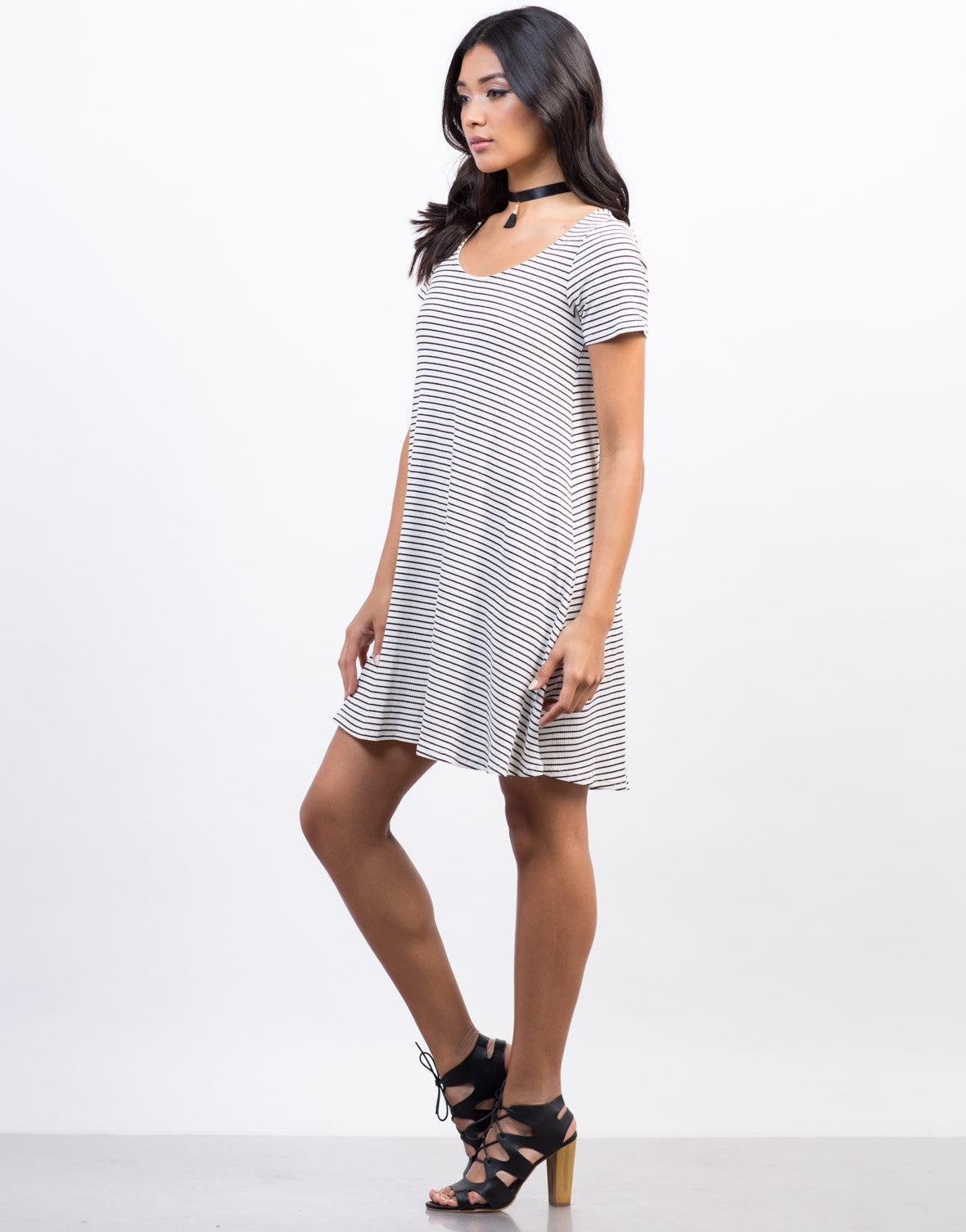 Skinny Striped Flare Tee Dress - 2020AVE