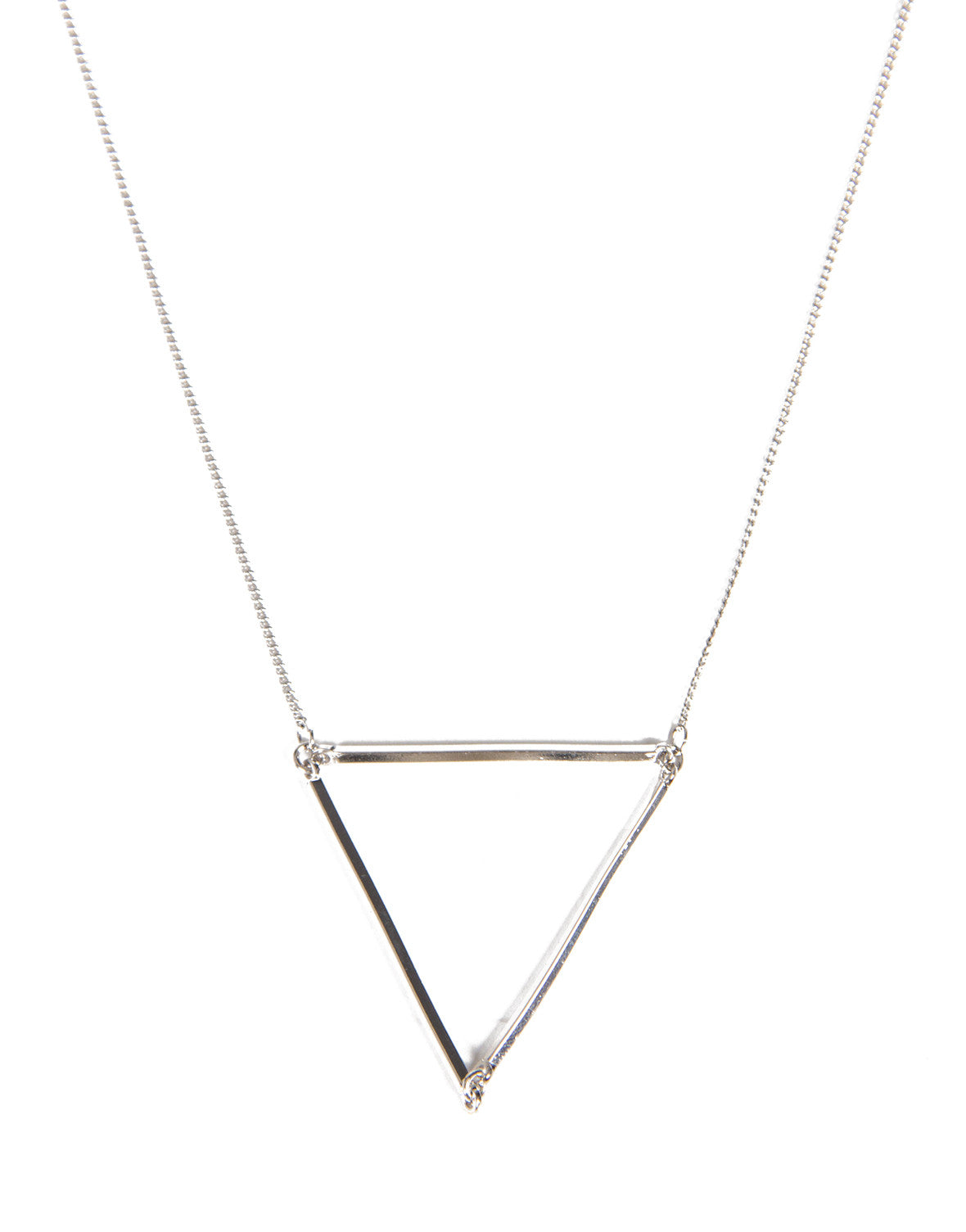 Skinny Triangle Pendant Necklace - Silver