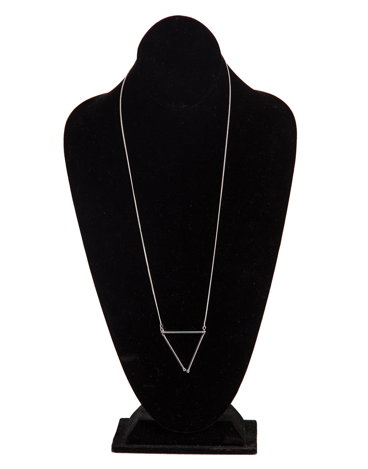 Skinny Triangle Pendant Necklace - Silver - 2020AVE