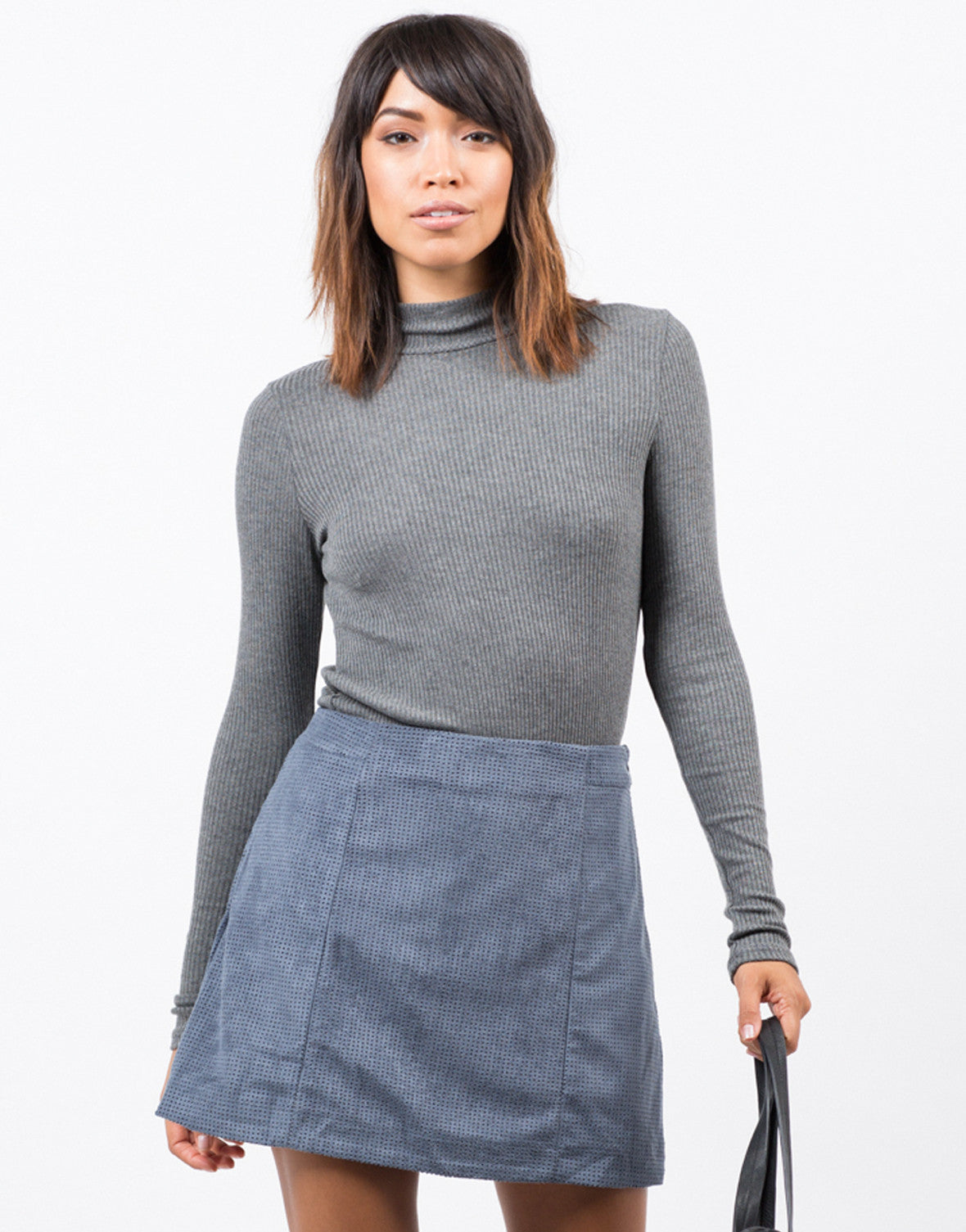 Front View of Perforated Suede Mini Skirt