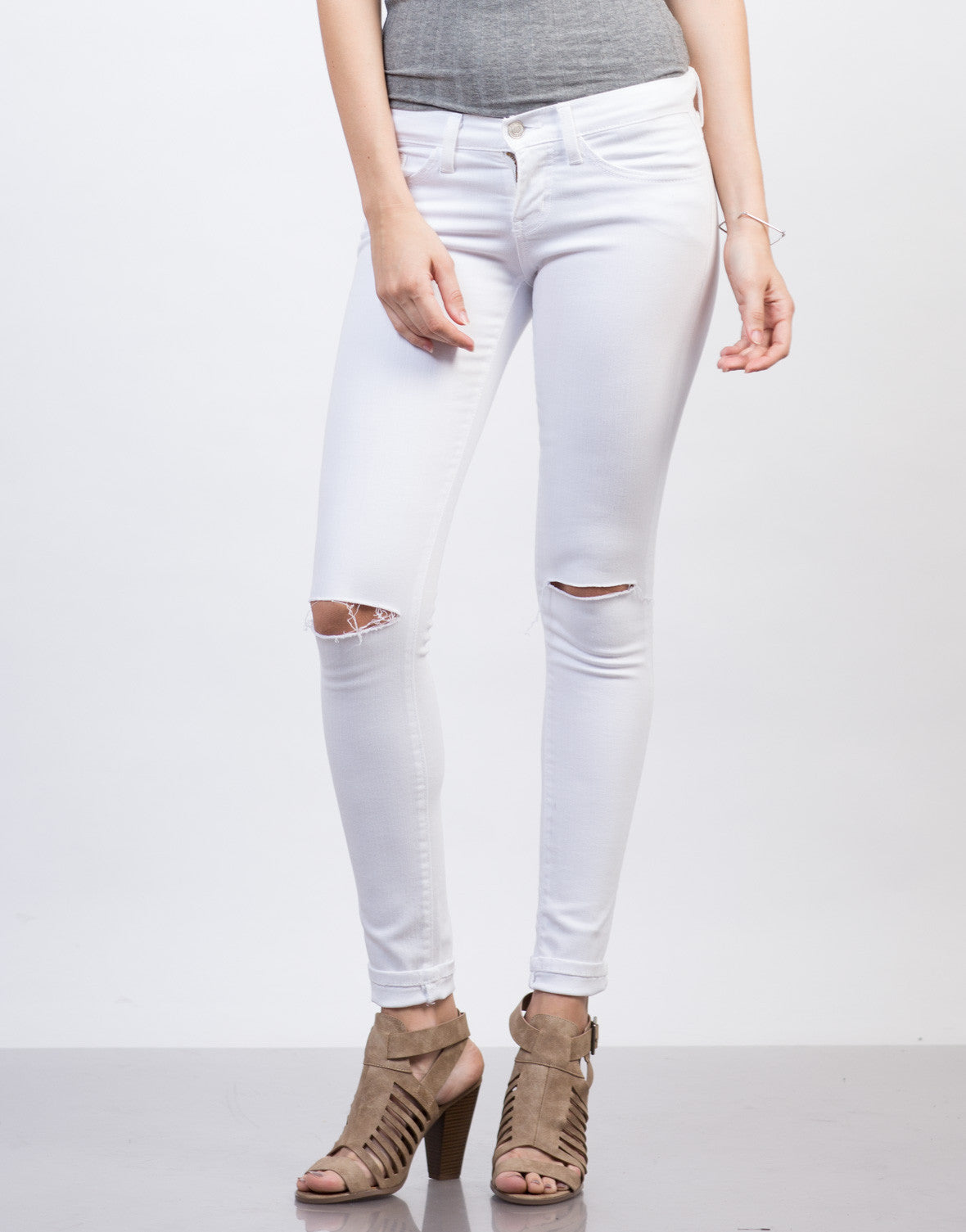 Front View of Slashed Knee Skinny Pants