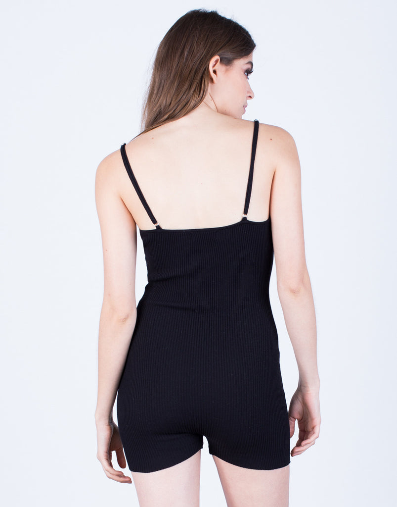 Back View of Sleek Knit Romper