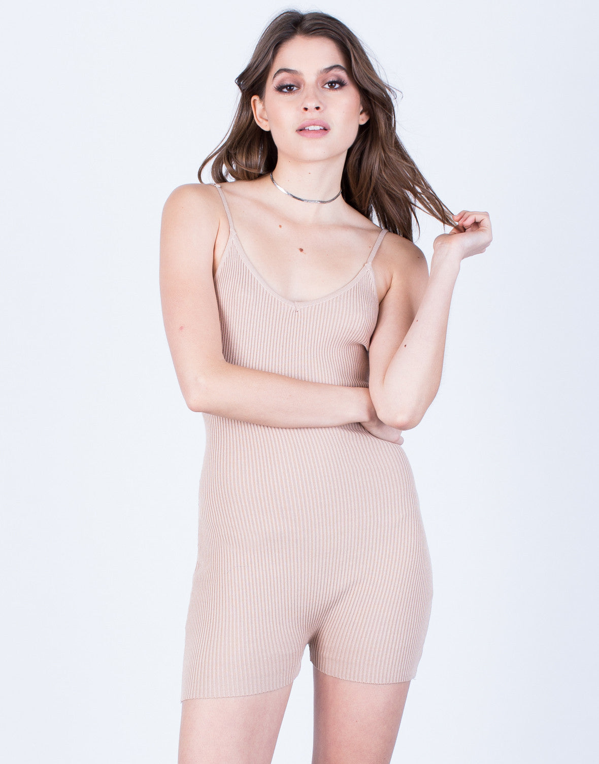 Front View of Sleek Knit Romper