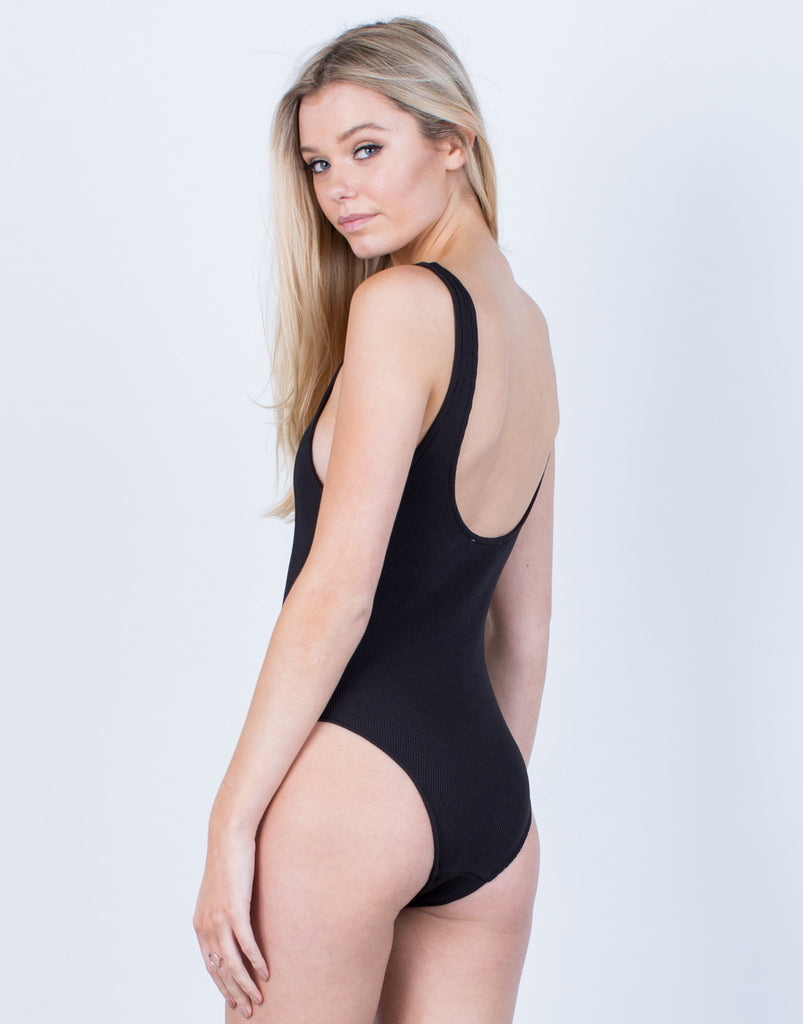 Back View of Sleek Scoop Back Bodysuit