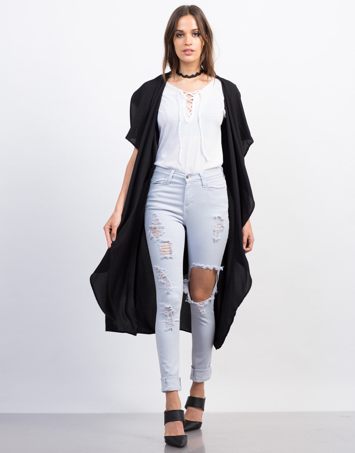 Front View of Sleeveless Belted Crepe Jacket
