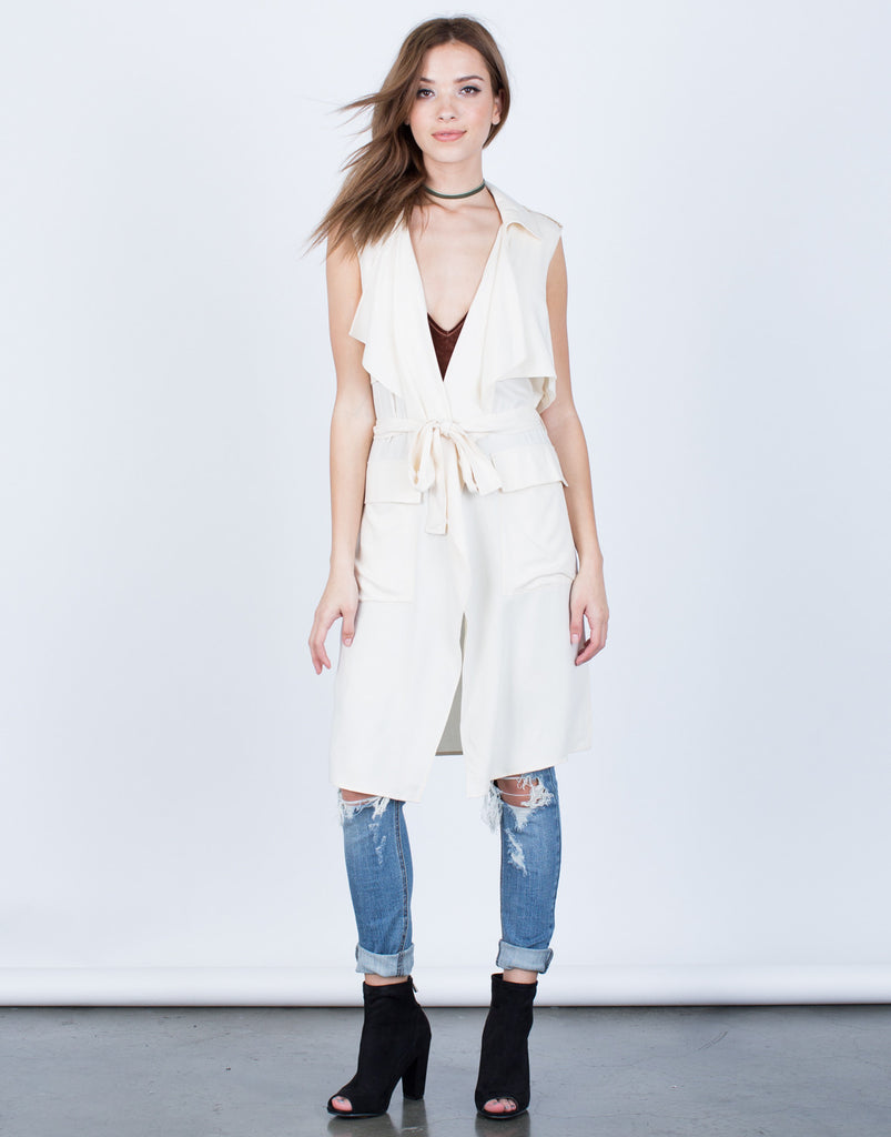 Front View of Sleeveless Belted Jacket