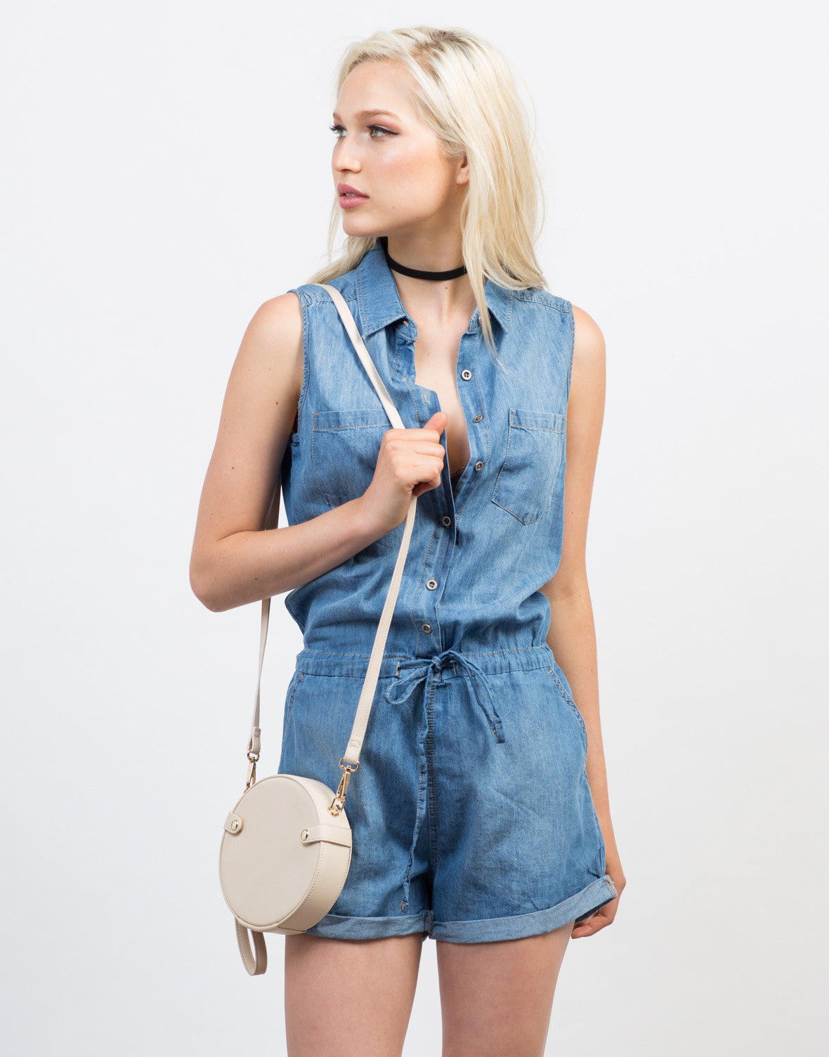 Front View of Sleeveless Chambray Button Down Romper
