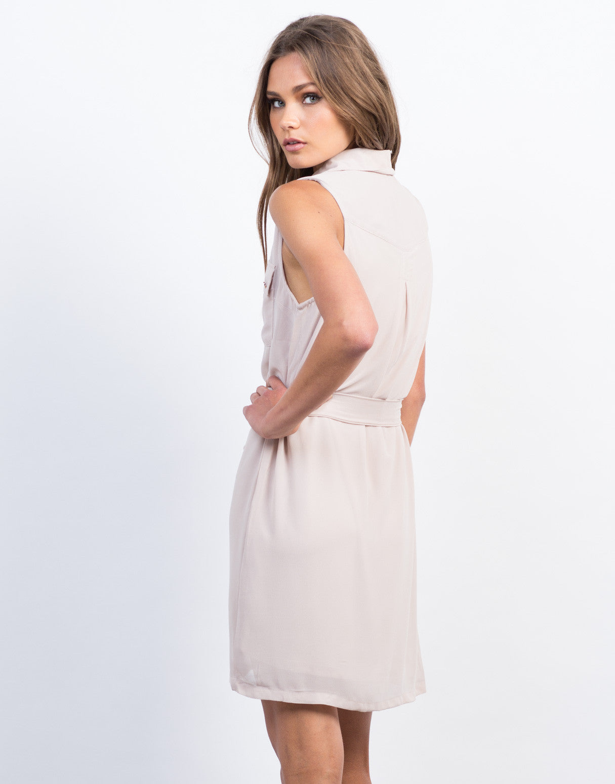 Back View of Sleeveless Chiffon Shirt Dress
