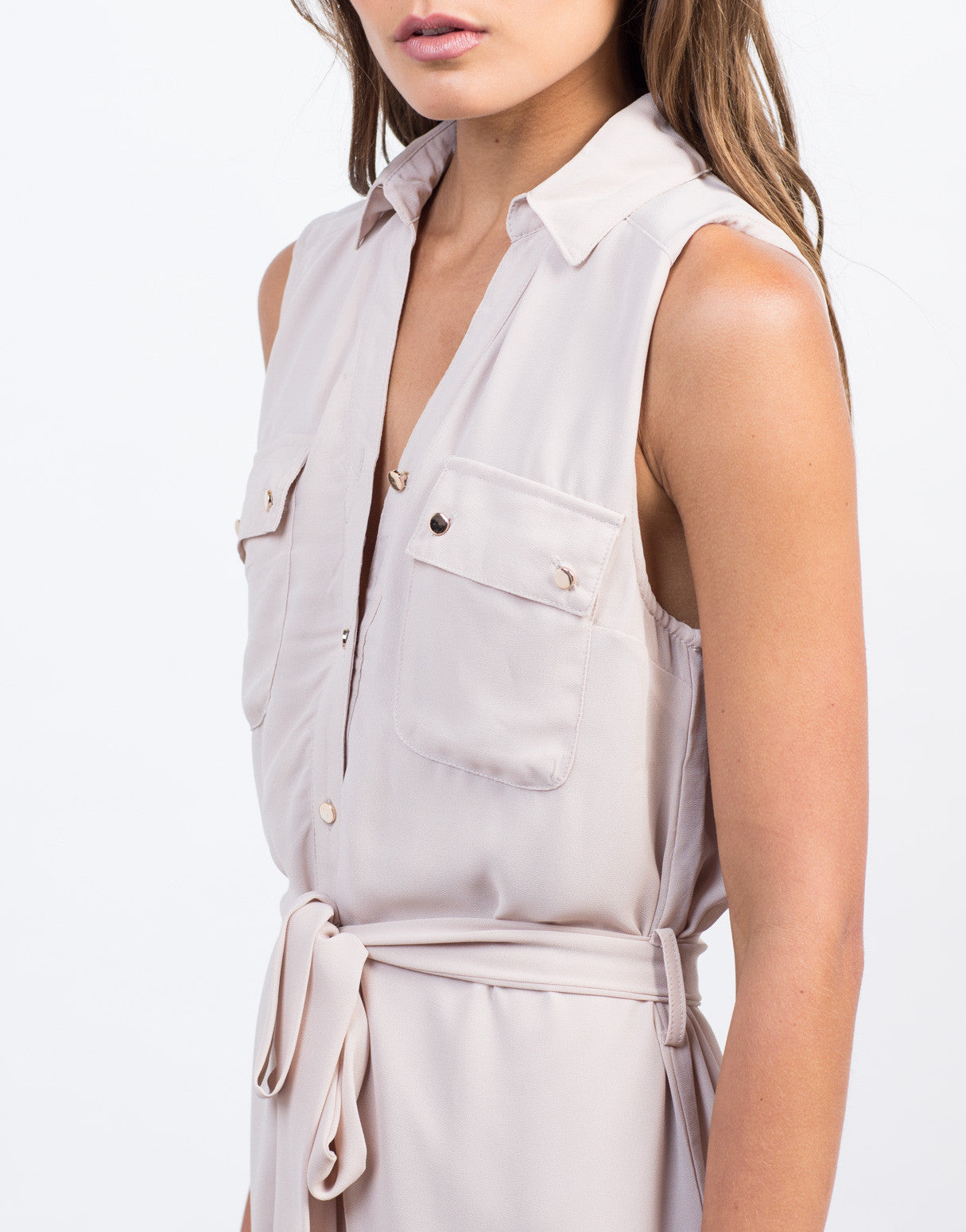 Detail of Sleeveless Chiffon Shirt Dress