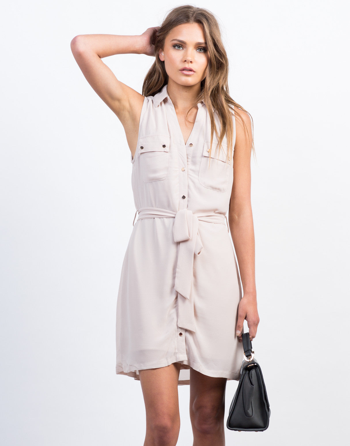 Front View of Sleeveless Chiffon Shirt Dress