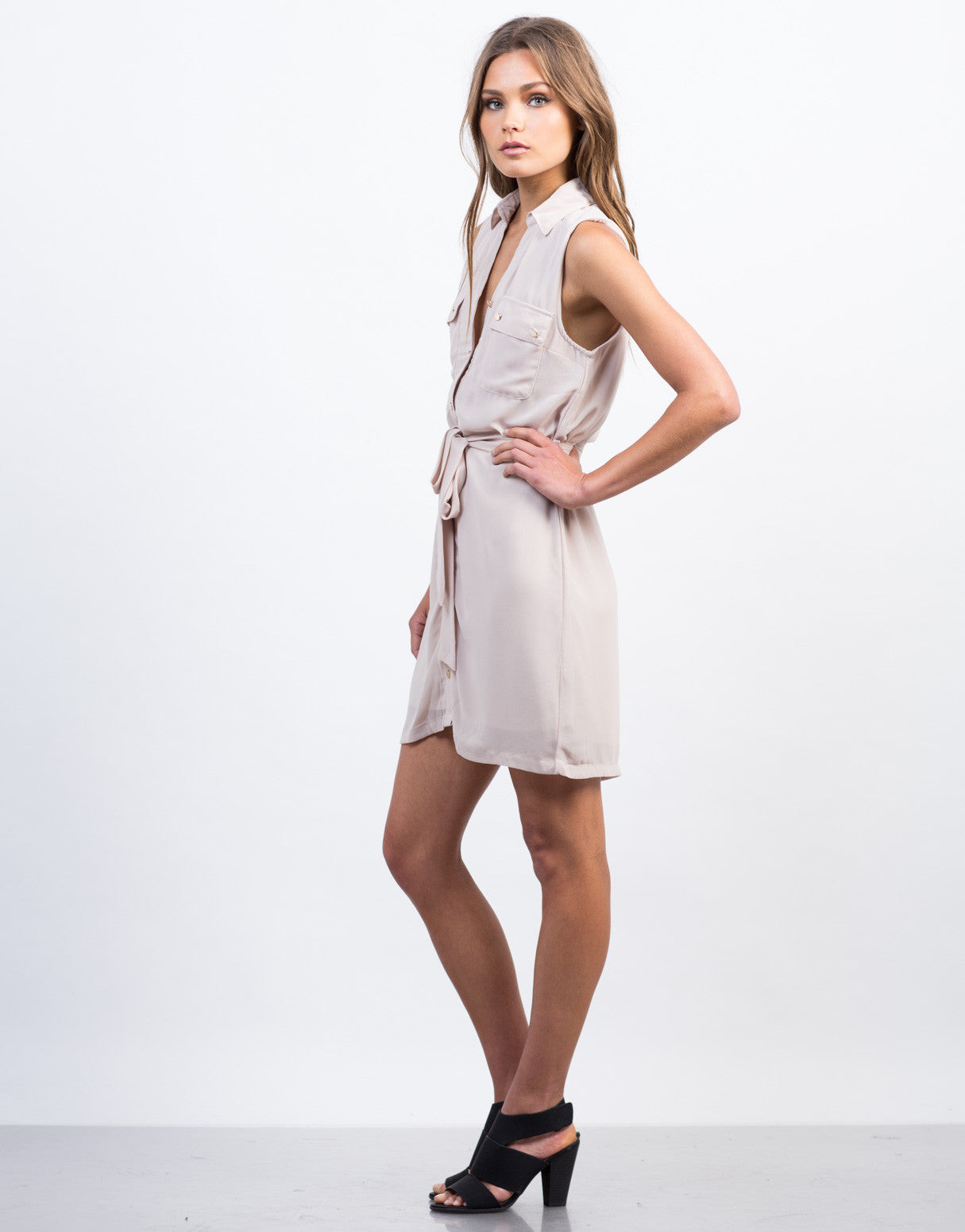 Side View of Sleeveless Chiffon Shirt Dress
